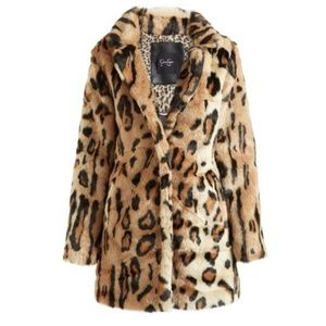 Jessica Simpson Leopard Faux Fur Coat Small BNWOT